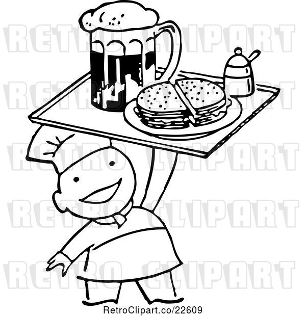 Vector Clip Art of Retro Chef Serving Beer and a Sandwich