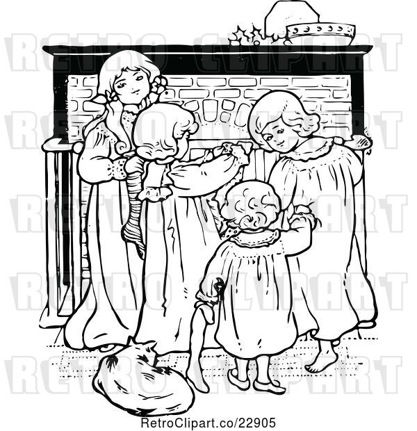 Vector Clip Art of Retro Christmas KChildren by a Fireplace