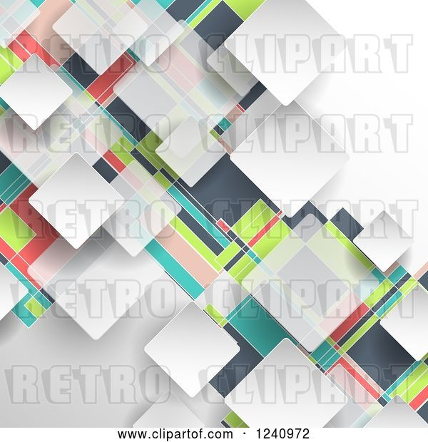 Vector Clip Art of Retro Colorful Geometric Background