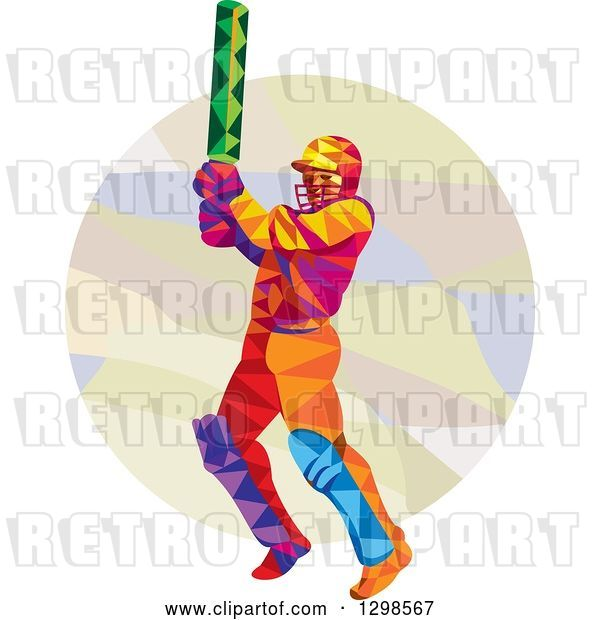 Vector Clip Art of Retro Colorful Low Poly Cricket Batsman over a Circle