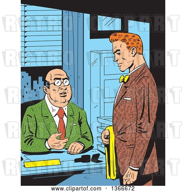 Vector Clip Art of Retro Comic Styled Red Haired White Business Man Meeting with His Boss