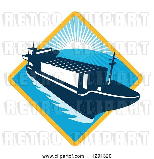 Vector Clip Art of Retro Container Cargo Ship Emerging from a Yellow and Blue Sunset and Ocean Diamond