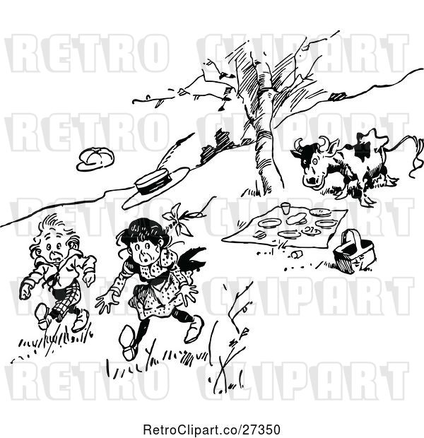 Vector Clip Art of Retro Cow Chasing KChildren Away from a Picnic