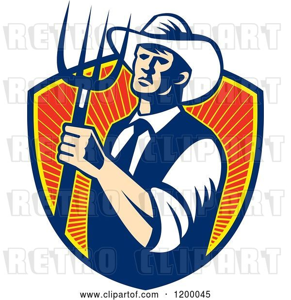 Vector Clip Art of Retro Cowboy Farmer Holding a Pitchfork over a Shield of Rays