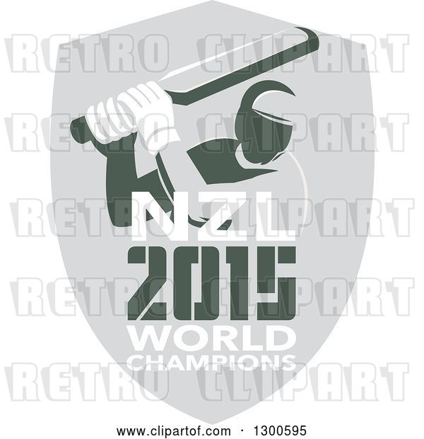 Vector Clip Art of Retro Cricket Player Batsman in a Gray Shield with NZL 2015 World Champions Text