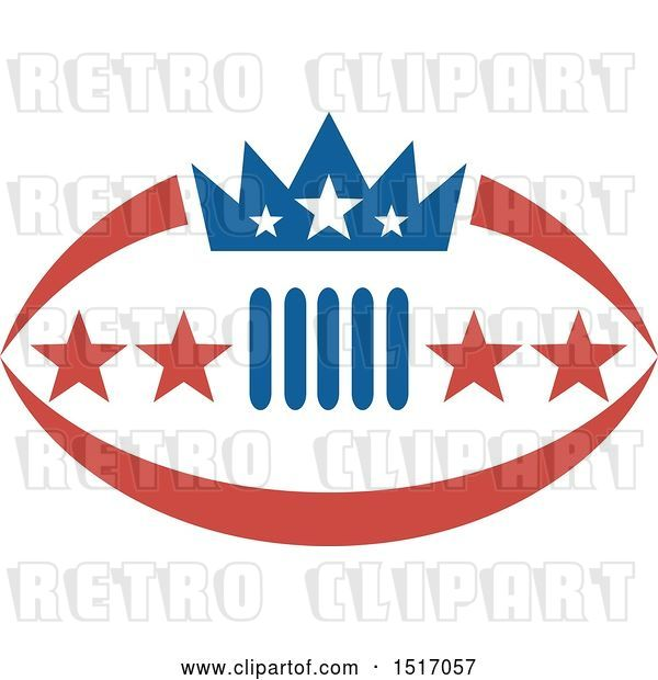 Vector Clip Art of Retro Crown and Stars on an American Football