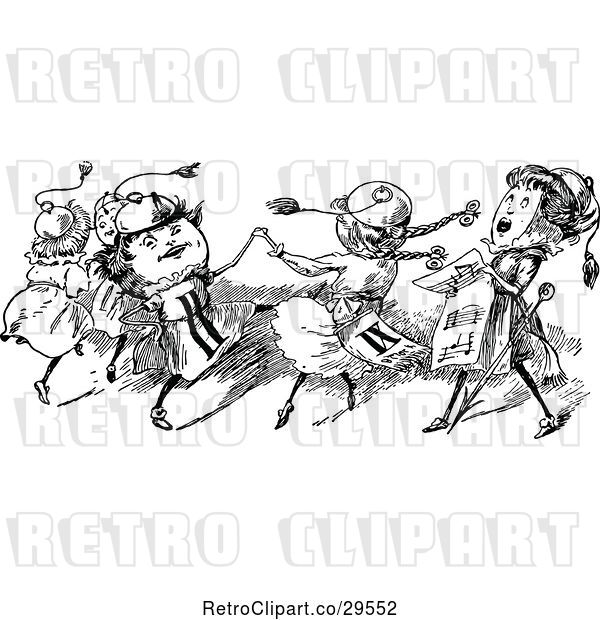 Vector Clip Art of Retro Dancing Clock People