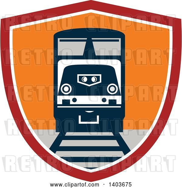 Vector Clip Art of Retro Diesel Freight Train on a Track in a Red White and Orange Shield
