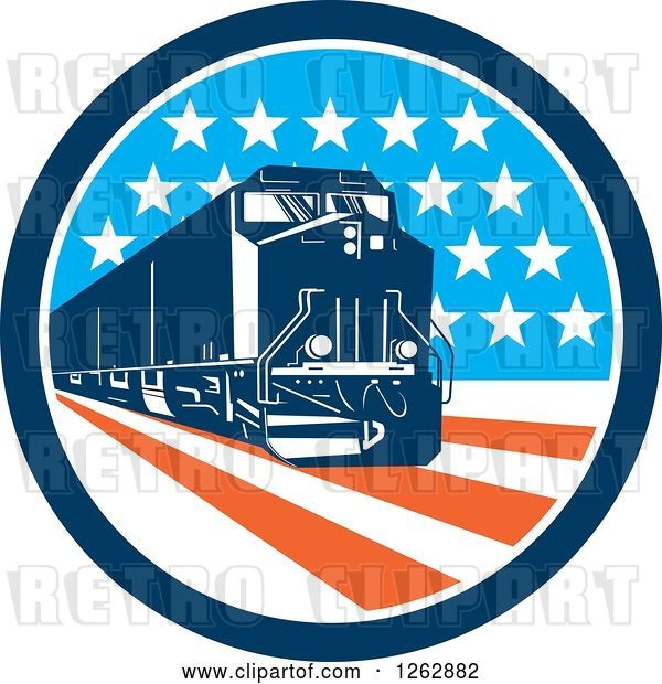 Vector Clip Art of Retro Diesel Train in an American Circle