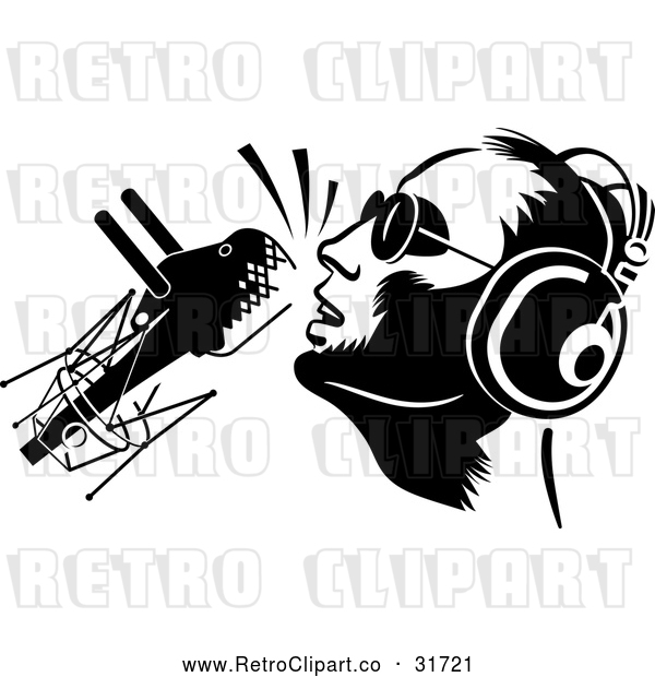 Vector Clip Art of Retro Dj or Singer with a Microphone