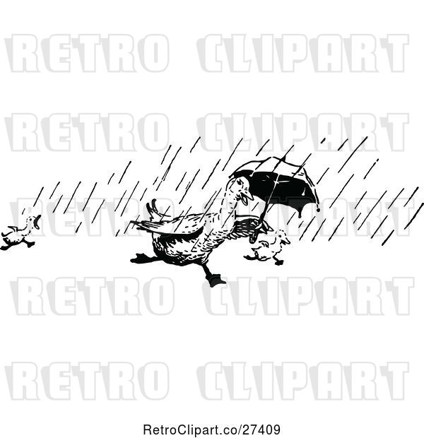 Vector Clip Art of Retro Ducks Running in the Rain with an Umbrella