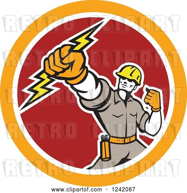 Vector Clip Art of Retro Electrican Holding up a Fist and Bolt in a Circle
