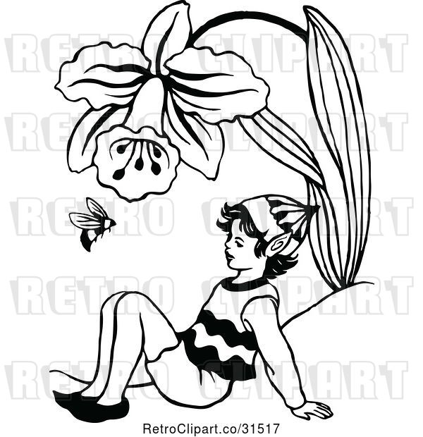 Vector Clip Art of Retro Elf and Bee Under a Daffodil