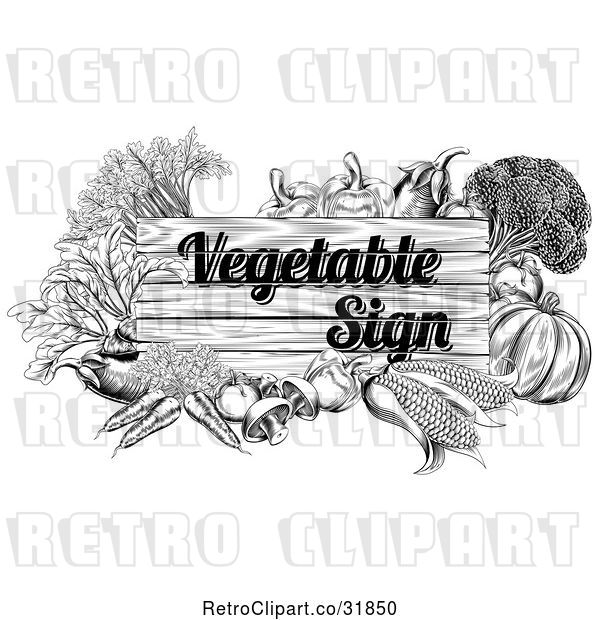Vector Clip Art of Retro Etched Vegetable Sign and Produce