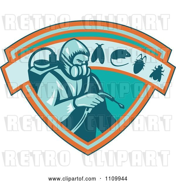 Vector Clip Art of Retro Exterminator Pest Control Worker Using Spray on a Shield with a Rat Mouse Fly and Cockroach