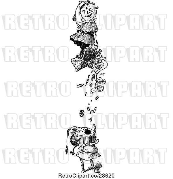 Vector Clip Art of Retro Falling Clock People