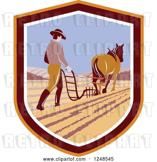 Vector Clip Art of Retro Farmer and Horse Plowing a Field in a Shield