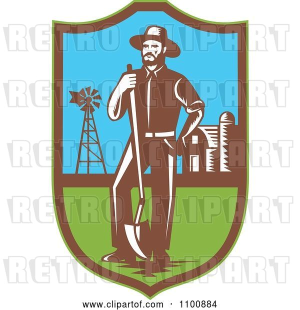 Vector Clip Art of Retro Farmer with a Shovel Windmill and Barn in a Shield