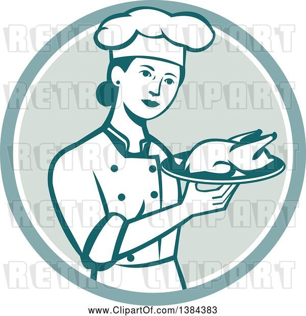 Vector Clip Art of Retro Female Chef Holding a Roasted Chicken on a Plate in a Circle