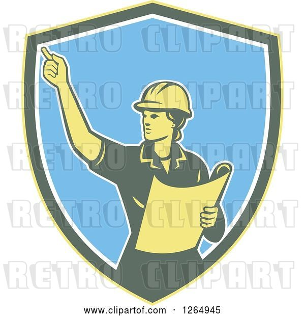 Vector Clip Art of Retro Female Construction Worker Engineer in a Yellow Green White and Blue Shield