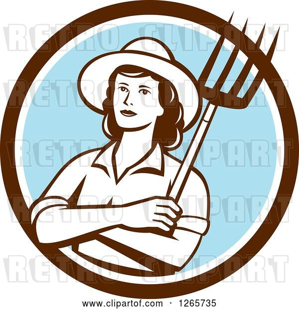 Vector Clip Art of Retro Female Farmer Holding a Pitchfork in a Brown White and Blue Circle