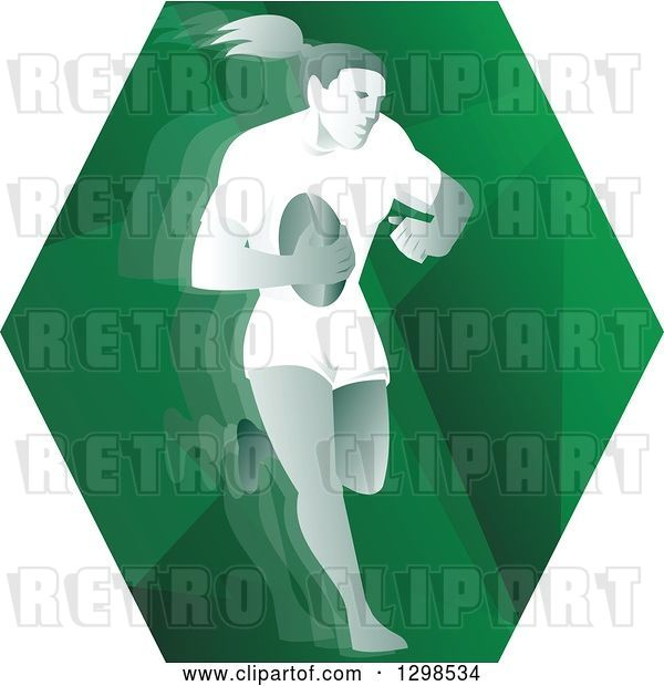 Vector Clip Art of Retro Female Rugby Player Running in a Green Hexagon