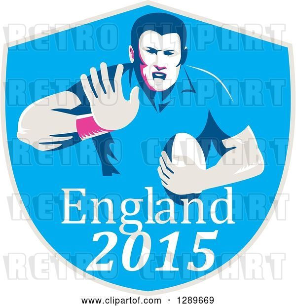 Vector Clip Art of Retro Fending Rugby Union Player with Ball in a Blue England 2015 Shield