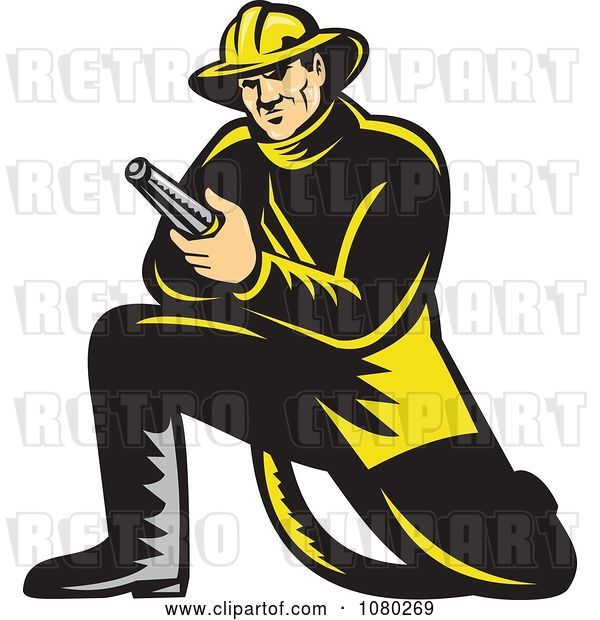 Vector Clip Art of Retro Firefighter Kneeling and Holding a Hose