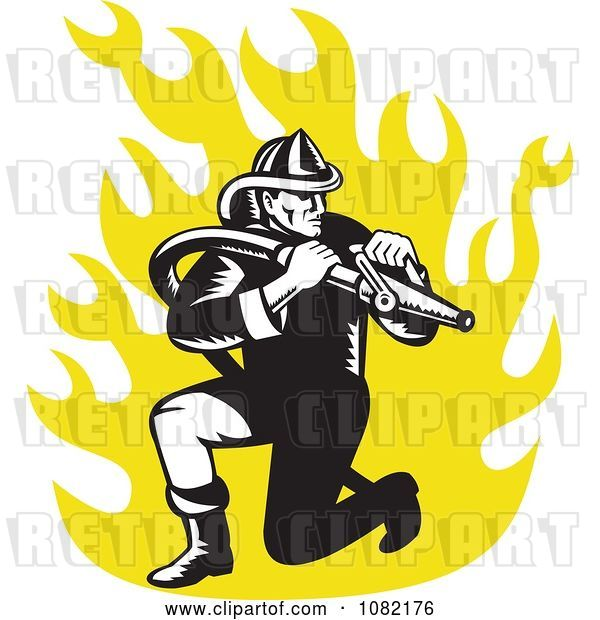 Vector Clip Art of Retro Firefighter with a Hose over Yellow Flames