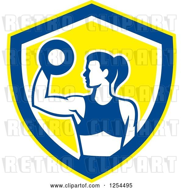 Vector Clip Art of Retro Fit Lady Doing Bicep Curls with a Dumbbell in a White Blue and Yellow Shield