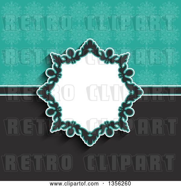 Vector Clip Art of Retro Floral Frame over a Gray and Turquoise Snowflake Background