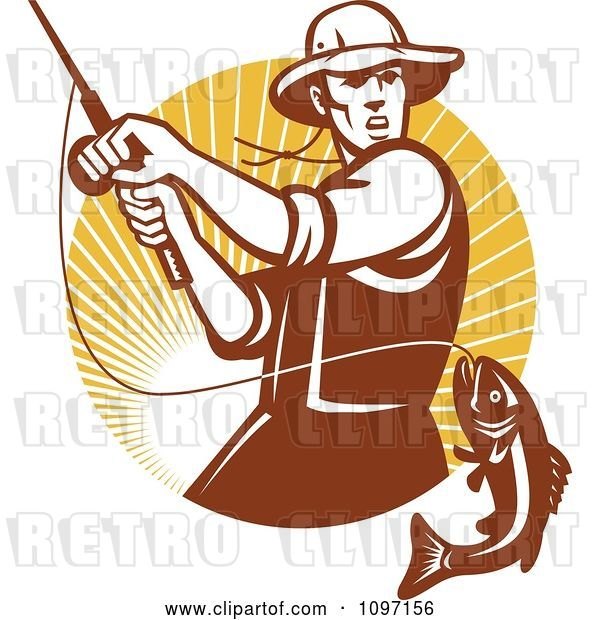 Vector Clip Art of Retro Fly Fisher Man Reeling in a Largemouth Bass Fish in a Circle of Rays