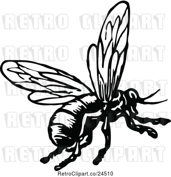 Vector Clip Art of Retro Flying Bee