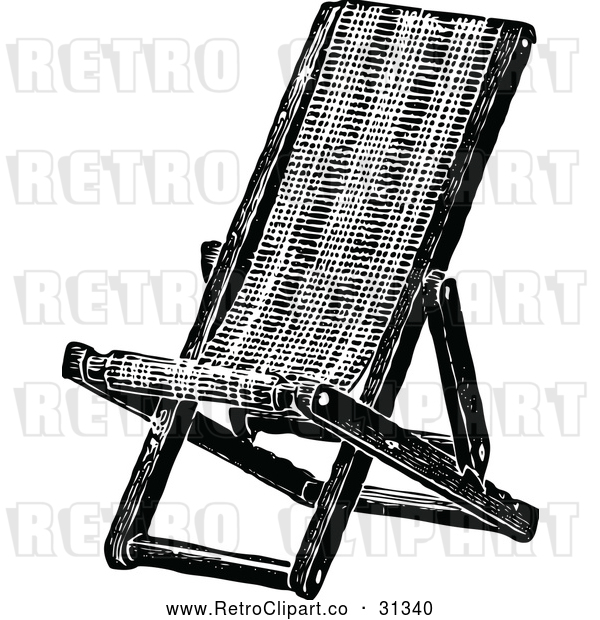 Vector Clip Art of Retro Folding Deck Chair