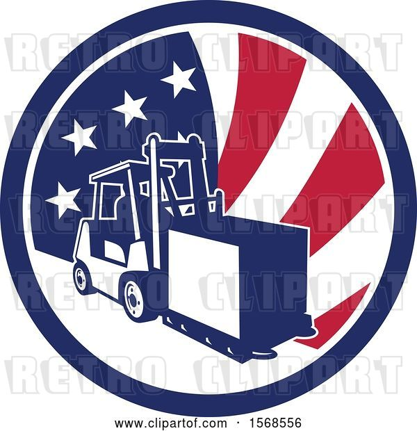 Vector Clip Art of Retro Forklift Moving a Box in an American Flag Circle