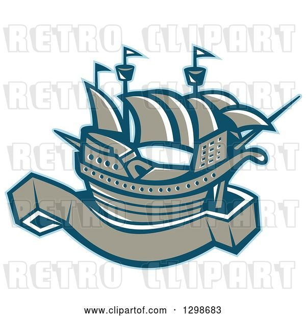 Vector Clip Art of Retro Galleon Ship with a Blank Banner Scroll