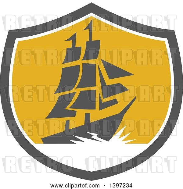 Vector Clip Art of Retro Galleon Ship with Lightning in a Gray White and Yellow Shield