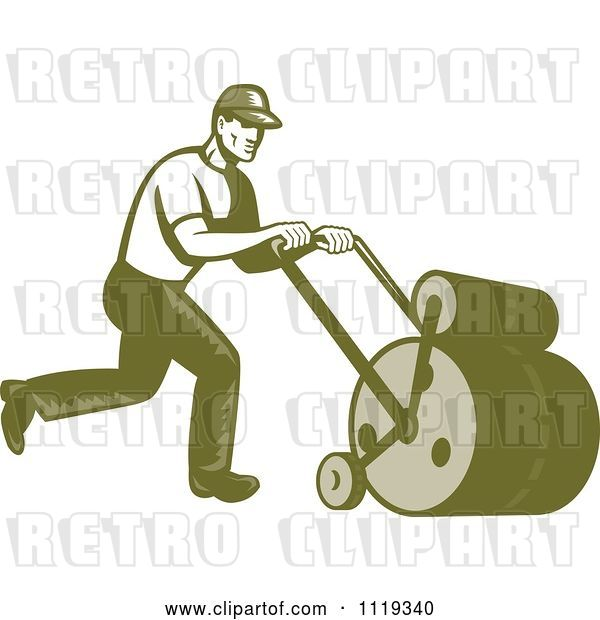 Vector Clip Art of Retro Gardener or Landscaper Worker Using a Lawn Roller