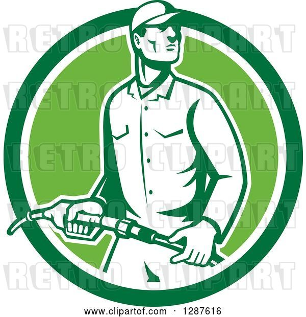 Vector Clip Art of Retro Gas Station Attendant Jockey Holding a Nozzle in a Green and White Circle