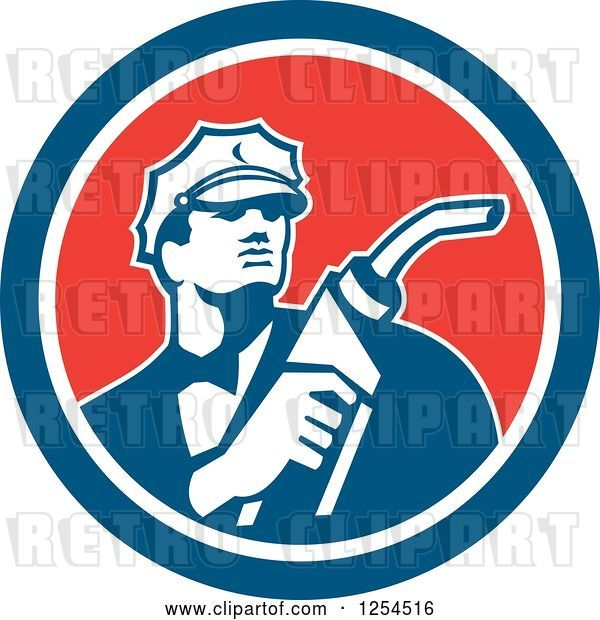Vector Clip Art of Retro Gas Station Attendant Jockey Holding a Nozzle in a Red White and Blue Circle