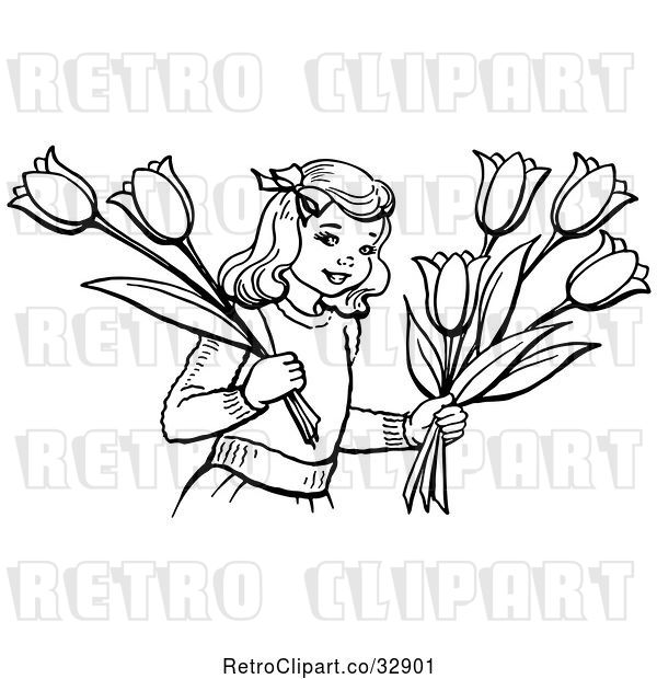 Vector Clip Art of Retro Girl Holding Tulip Flowers in