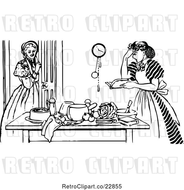 Vector Clip Art of Retro Girl Watching a Frustrated Lady Cook