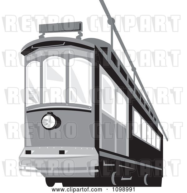 Vector Clip Art of Retro Grayscale Cable Street Car Tram 2