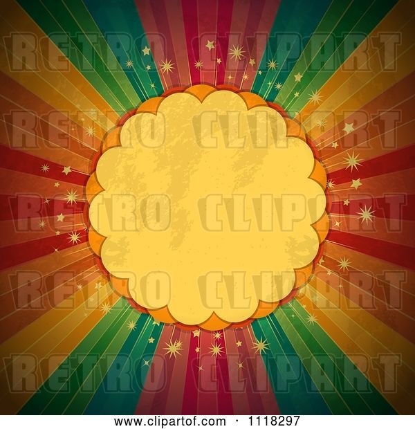 Vector Clip Art of Retro Grungy Scalloped Frame over Sparkles and Rainbow Rays