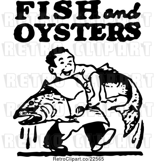 Vector Clip Art of Retro Guy Carrying a Large Fish with Fish and Oysters Text