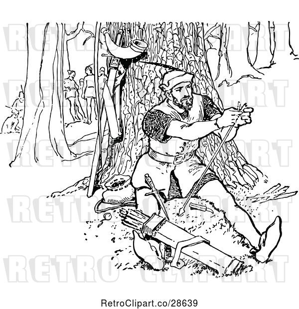 Vector Clip Art of Retro Guy Repairing an Arrow in the Forest