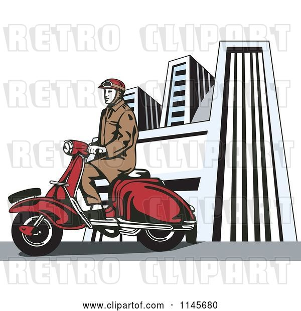 Vector Clip Art of Retro Guy Riding a Vespa in a City