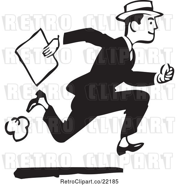 Vector Clip Art of Retro Guy Running with a Document