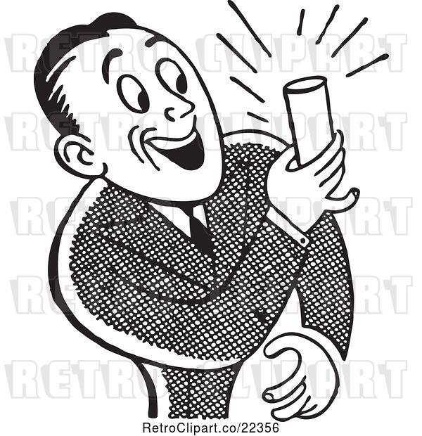 Vector Clip Art of Retro Guy Smiling and Holding a Beer