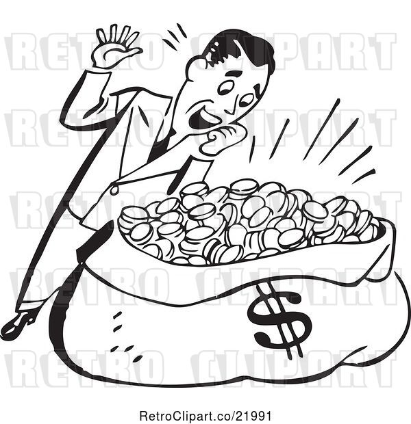 Vector Clip Art of Retro Guy Standing over a Sack of Money